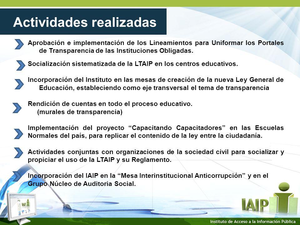 Aprobación e implementación de los Lineamientos para Uniformar los Portales de Transparencia de las Instituciones Obligadas.