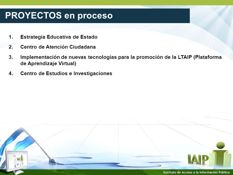 PROYECTOS en proceso 1. Estrategia Educativa de Estado 2.