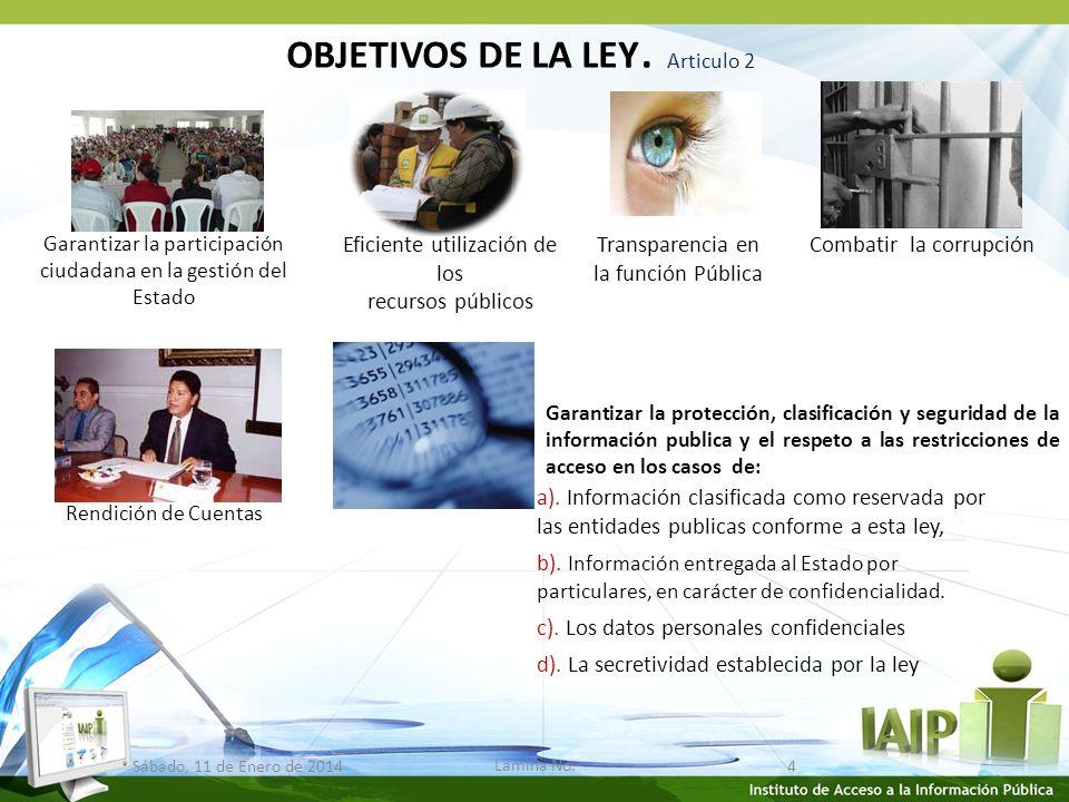 OBJETIVOS DE LA LEY.