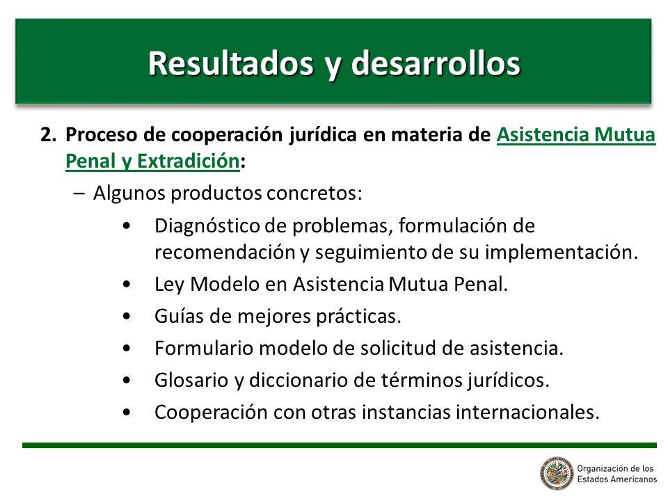 2. Proceso de cooperación jurídica en materia de Asistencia Mutua Penal y Extradición: –Algunos productos concretos: Diagnóstico de problemas, formula