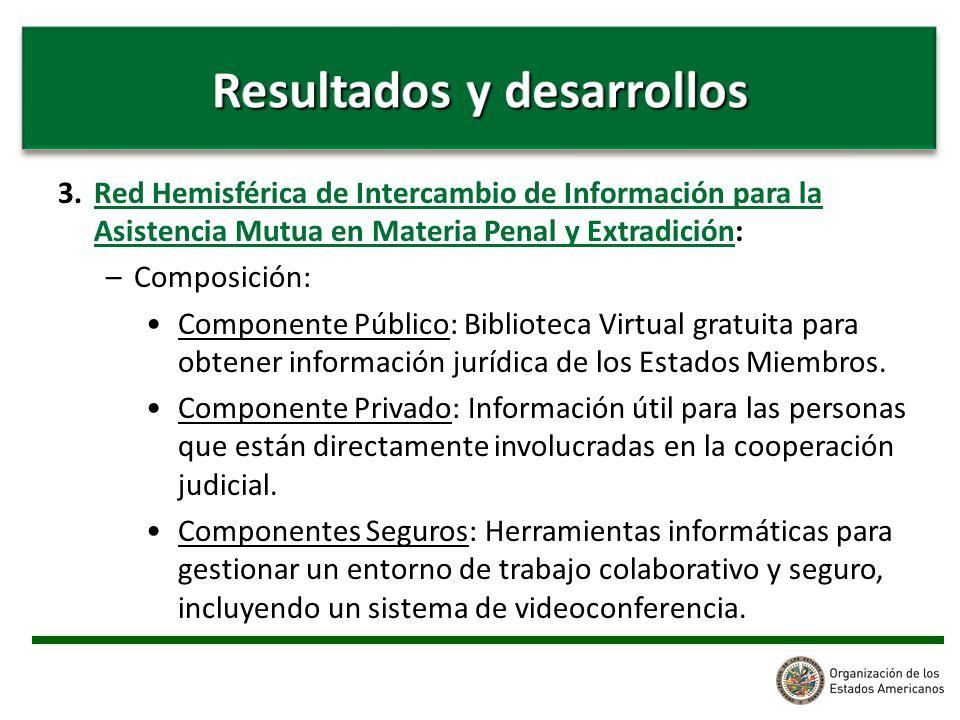 3. Red Hemisférica de Intercambio de Información para la Asistencia Mutua en Materia Penal y Extradición: –Composición: Componente Público: Biblioteca