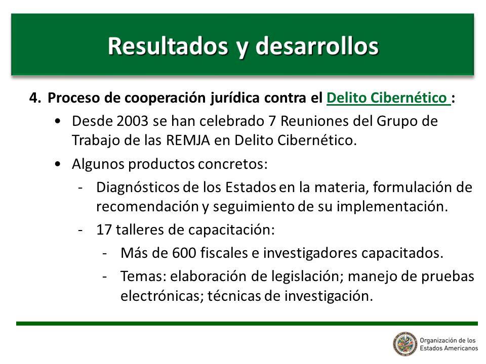 4.Proceso de cooperación jurídica contra el Delito Cibernético : Desde 2003 se han celebrado 7 Reuniones del Grupo de Trabajo de las REMJA en Delito Cibernético.