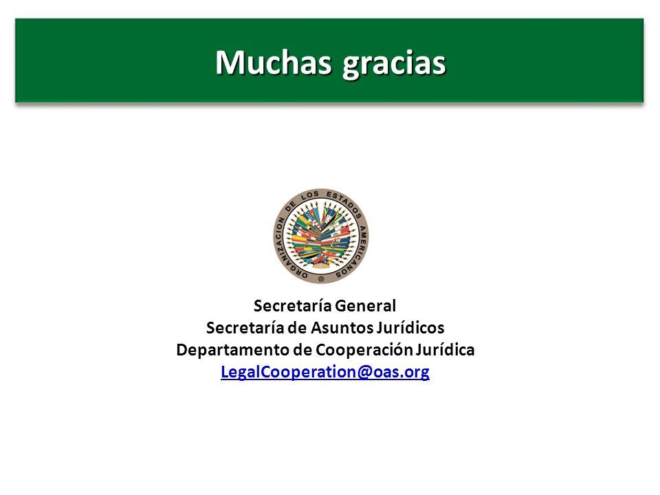 Secretaría General Secretaría de Asuntos Jurídicos Departamento de Cooperación Jurídica LegalCooperation@oas.org