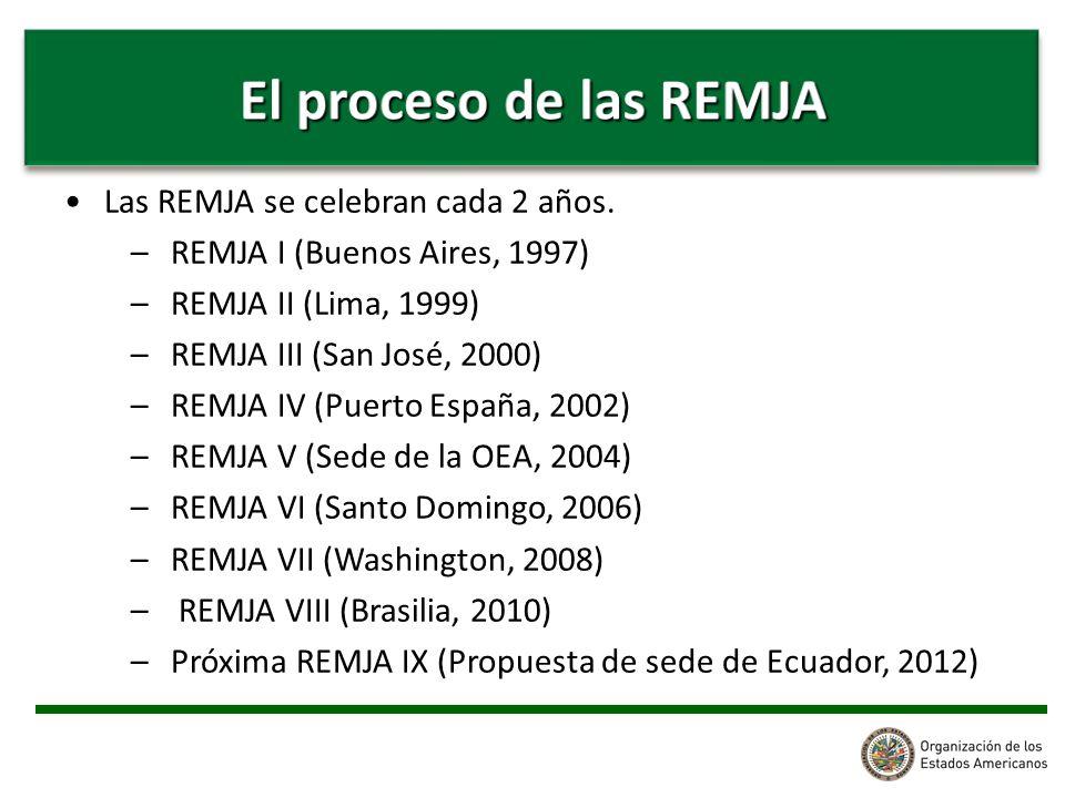 Las REMJA se celebran cada 2 años. –REMJA I (Buenos Aires, 1997) –REMJA II (Lima, 1999) –REMJA III (San José, 2000) –REMJA IV (Puerto España, 2002) –R