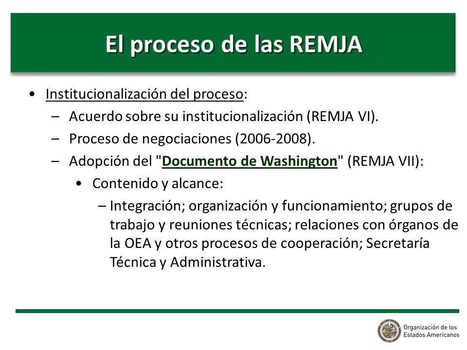 Institucionalización del proceso: –Acuerdo sobre su institucionalización (REMJA VI). –Proceso de negociaciones (2006-2008). –Adopción del
