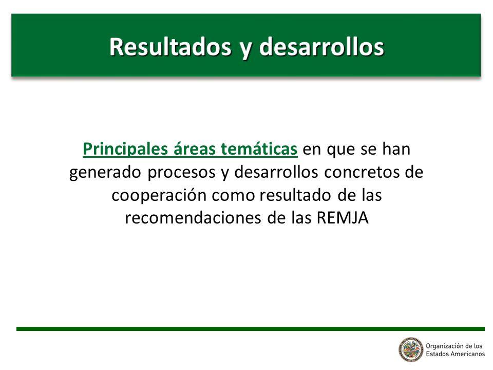 Principales áreas temáticas en que se han generado procesos y desarrollos concretos de cooperación como resultado de las recomendaciones de las REMJA