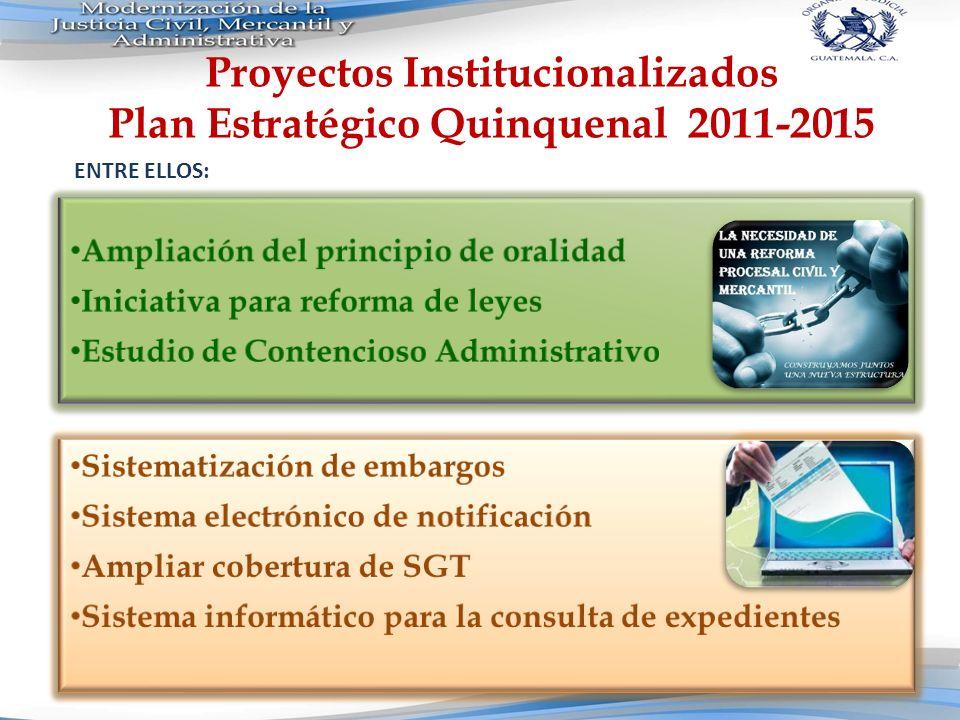 Proyectos Institucionalizados Plan Estratégico Quinquenal 2011-2015 ENTRE ELLOS: