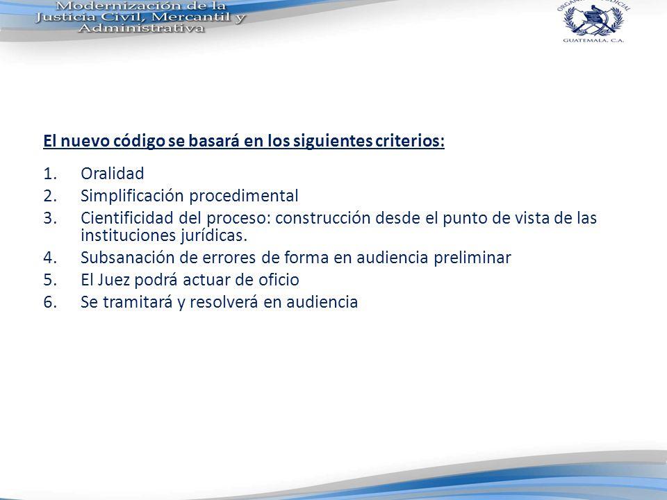 El nuevo código se basará en los siguientes criterios: 1.Oralidad 2.Simplificación procedimental 3.Cientificidad del proceso: construcción desde el pu