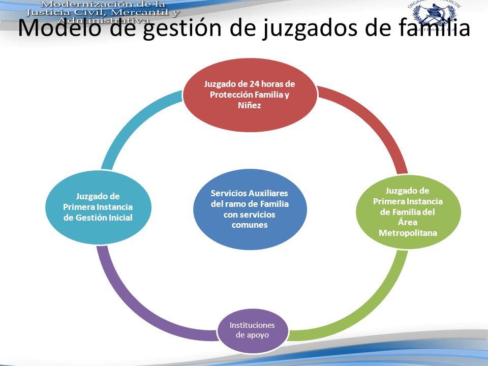 Modelo de gestión de juzgados de familia Servicios Auxiliares del ramo de Familia con servicios comunes Juzgado de 24 horas de Protección Familia y Ni