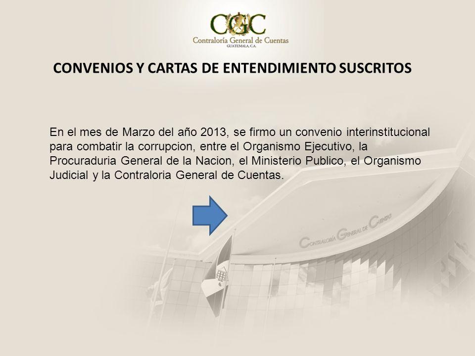En el mes de Marzo del año 2013, se firmo un convenio interinstitucional para combatir la corrupcion, entre el Organismo Ejecutivo, la Procuraduria Ge