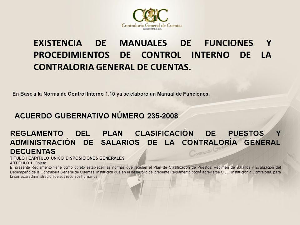 EXISTENCIA DE MANUALES DE FUNCIONES Y PROCEDIMIENTOS DE CONTROL INTERNO DE LA CONTRALORIA GENERAL DE CUENTAS. En Base a la Norma de Control Interno 1.
