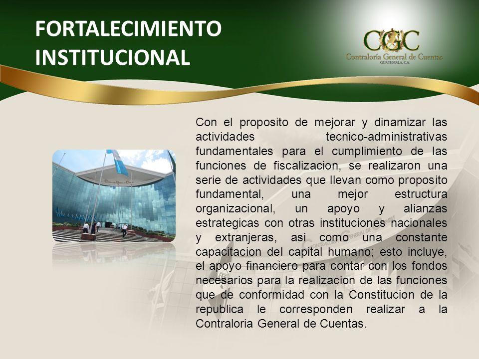 FORTALECIMIENTO INSTITUCIONAL Con el proposito de mejorar y dinamizar las actividades tecnico-administrativas fundamentales para el cumplimiento de la
