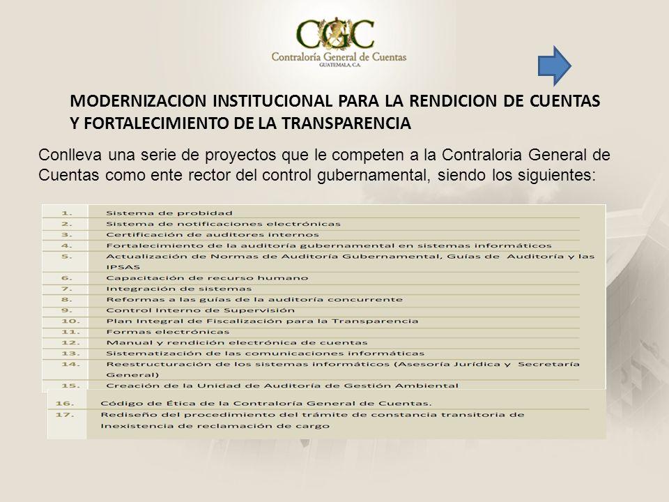MODERNIZACION INSTITUCIONAL PARA LA RENDICION DE CUENTAS Y FORTALECIMIENTO DE LA TRANSPARENCIA Conlleva una serie de proyectos que le competen a la Co