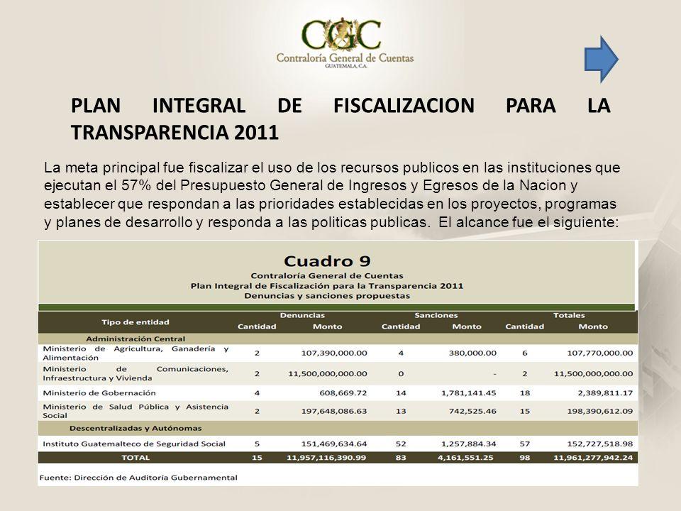 PLAN INTEGRAL DE FISCALIZACION PARA LA TRANSPARENCIA 2011 La meta principal fue fiscalizar el uso de los recursos publicos en las instituciones que ej