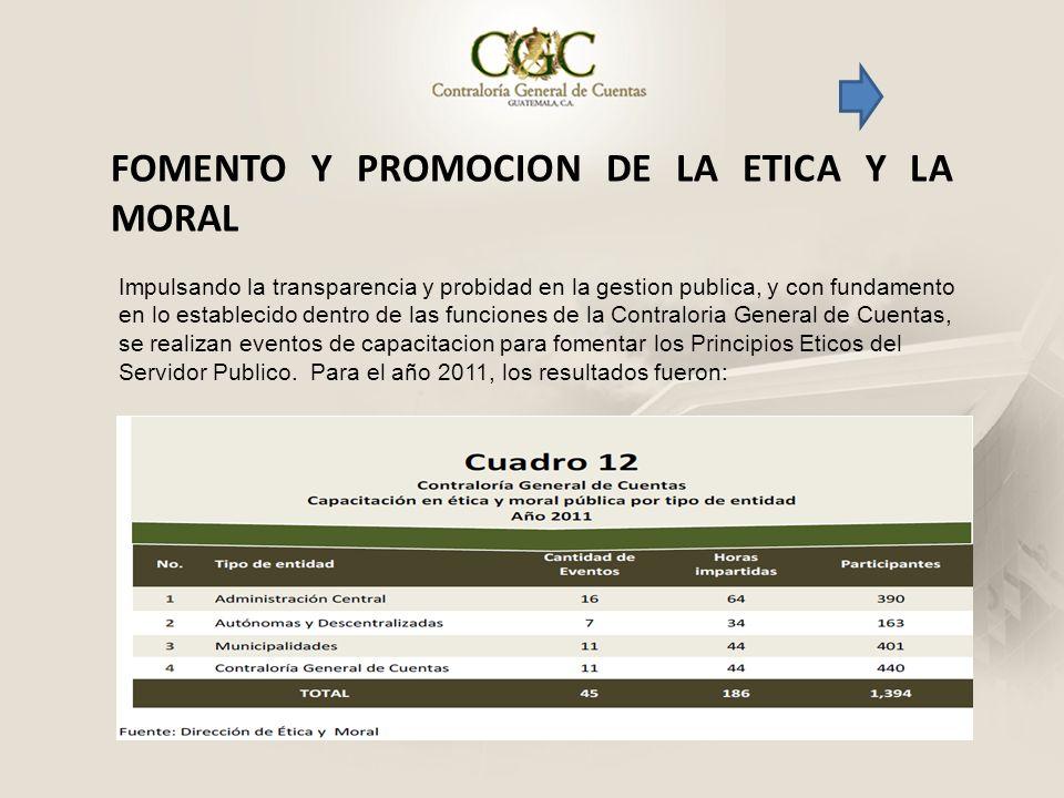 FOMENTO Y PROMOCION DE LA ETICA Y LA MORAL Impulsando la transparencia y probidad en la gestion publica, y con fundamento en lo establecido dentro de