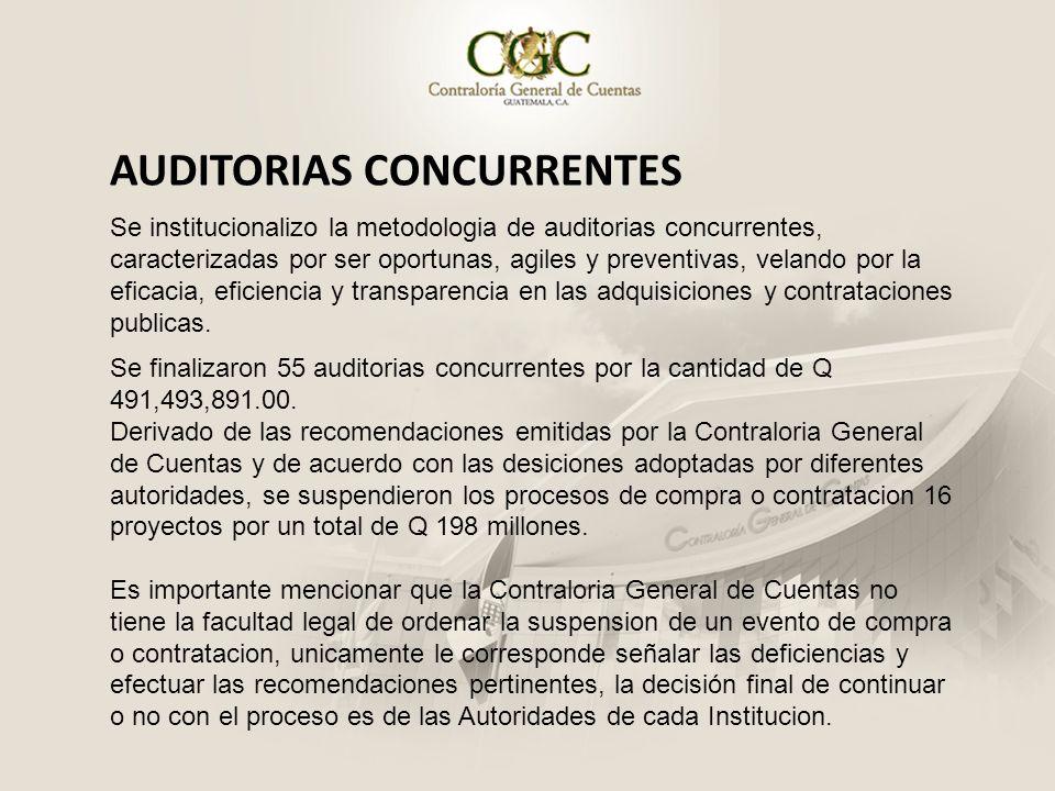 AUDITORIAS CONCURRENTES Se institucionalizo la metodologia de auditorias concurrentes, caracterizadas por ser oportunas, agiles y preventivas, velando