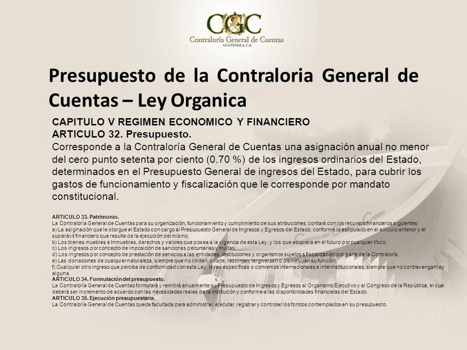Presupuesto de la Contraloria General de Cuentas – Ley Organica CAPITULO V REGIMEN ECONOMICO Y FINANCIERO ARTICULO 32. Presupuesto. Corresponde a la C