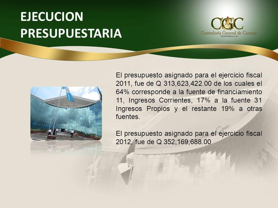 EJECUCION PRESUPUESTARIA El presupuesto asignado para el ejercicio fiscal 2011, fue de Q 313,623,422.00 de los cuales el 64% corresponde a la fuente d