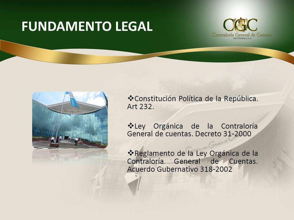 FUNDAMENTO LEGAL Constitución Política de la República. Art 232. Ley Orgánica de la Contraloría General de cuentas. Decreto 31-2000 Reglamento de la L