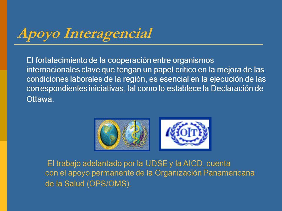 El fortalecimiento de la cooperación entre organismos internacionales clave que tengan un papel critico en la mejora de las condiciones laborales de l