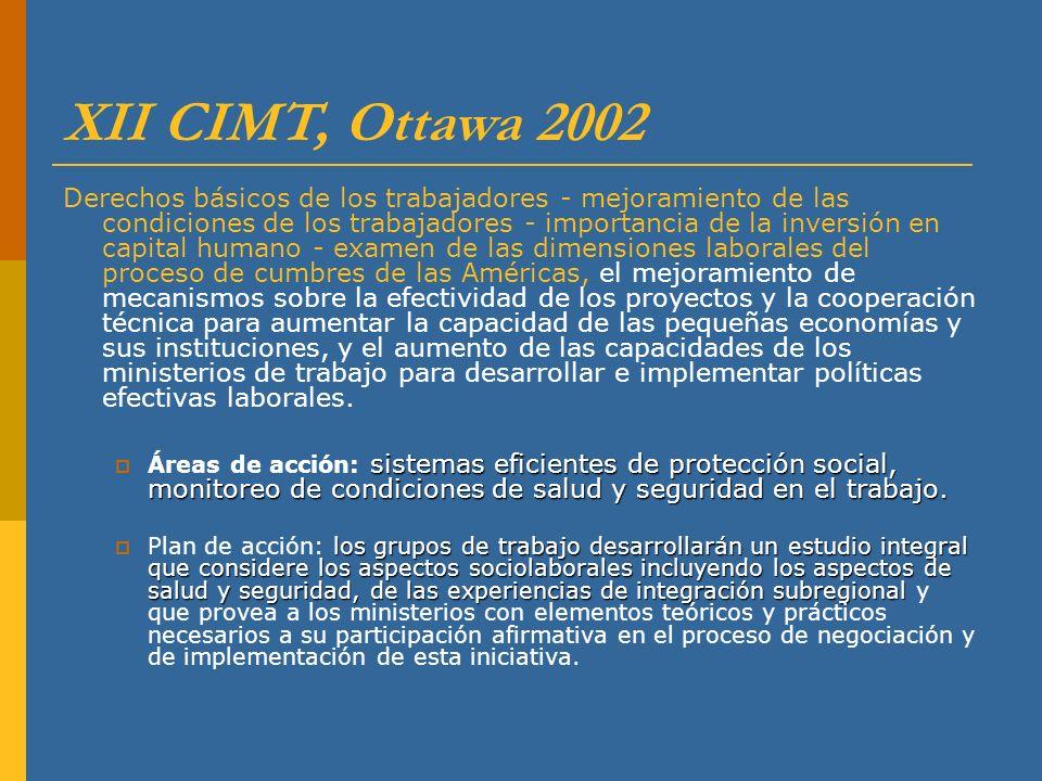 XII CIMT, Ottawa 2002 Derechos básicos de los trabajadores - mejoramiento de las condiciones de los trabajadores - importancia de la inversión en capi