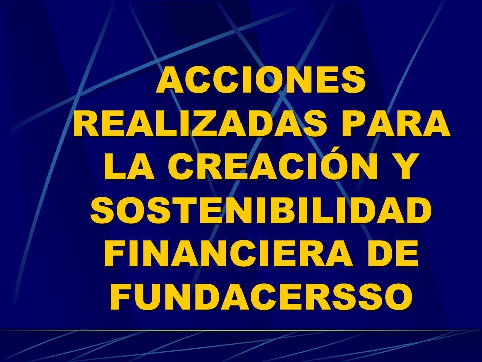 ACCIONES REALIZADAS PARA LA CREACIÓN Y SOSTENIBILIDAD FINANCIERA DE FUNDACERSSO