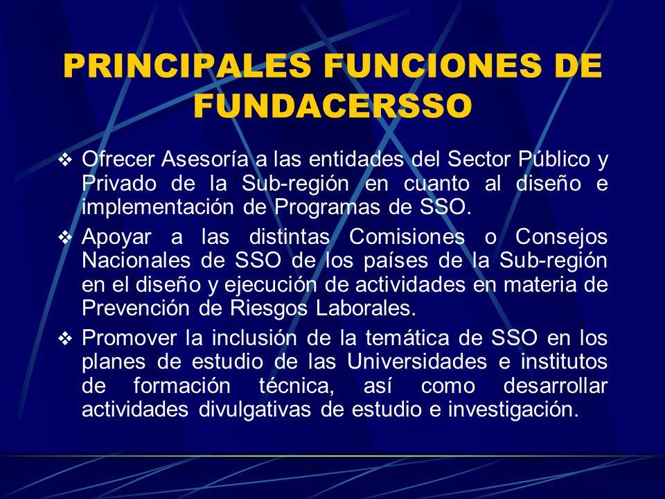 PRINCIPALES FUNCIONES DE FUNDACERSSO Ofrecer Asesoría a las entidades del Sector Público y Privado de la Sub-región en cuanto al diseño e implementación de Programas de SSO.