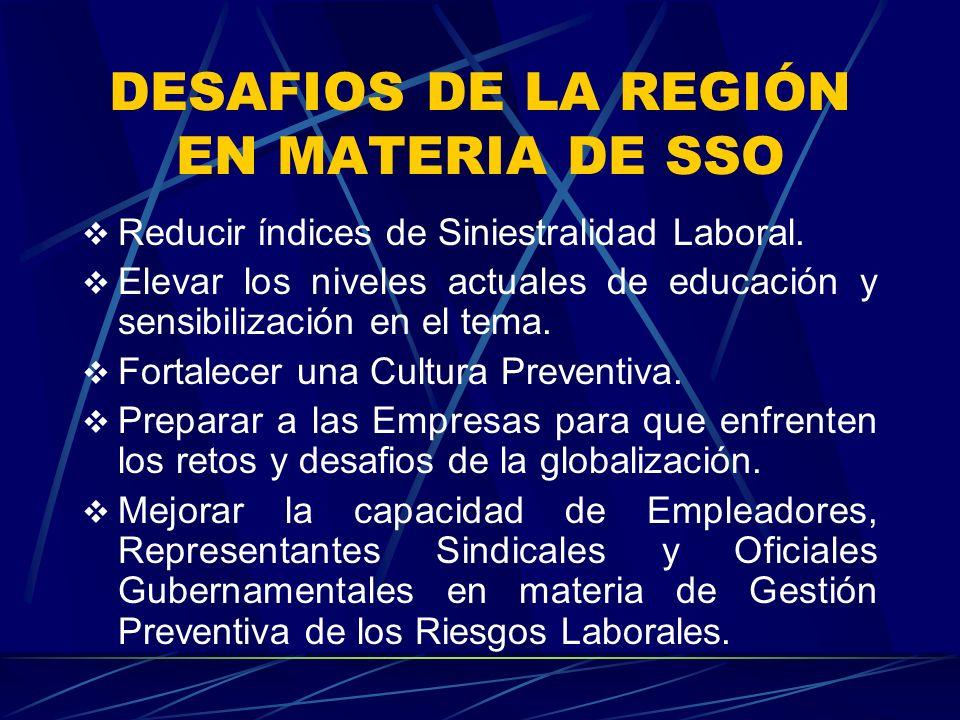 DESAFIOS DE LA REGIÓN EN MATERIA DE SSO Reducir índices de Siniestralidad Laboral.