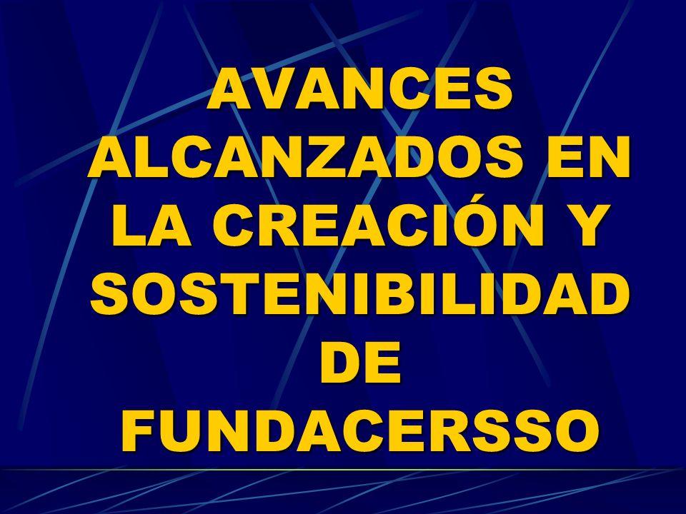AVANCES ALCANZADOS EN LA CREACIÓN Y SOSTENIBILIDAD DE FUNDACERSSO