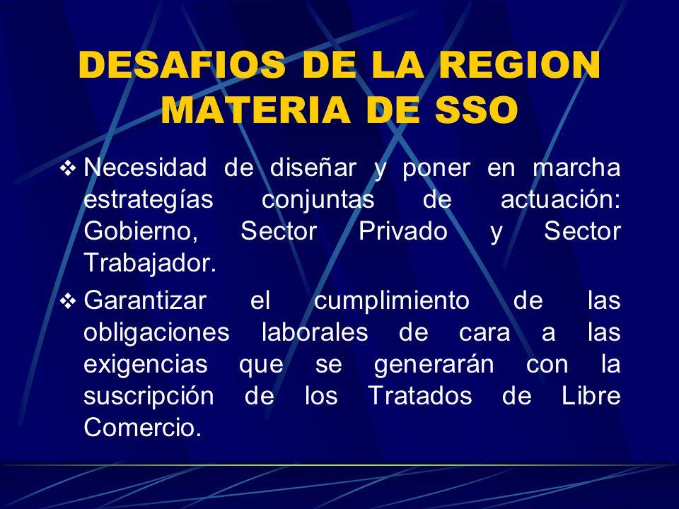 DESAFIOS DE LA REGION MATERIA DE SSO Necesidad de diseñar y poner en marcha estrategías conjuntas de actuación: Gobierno, Sector Privado y Sector Trabajador.