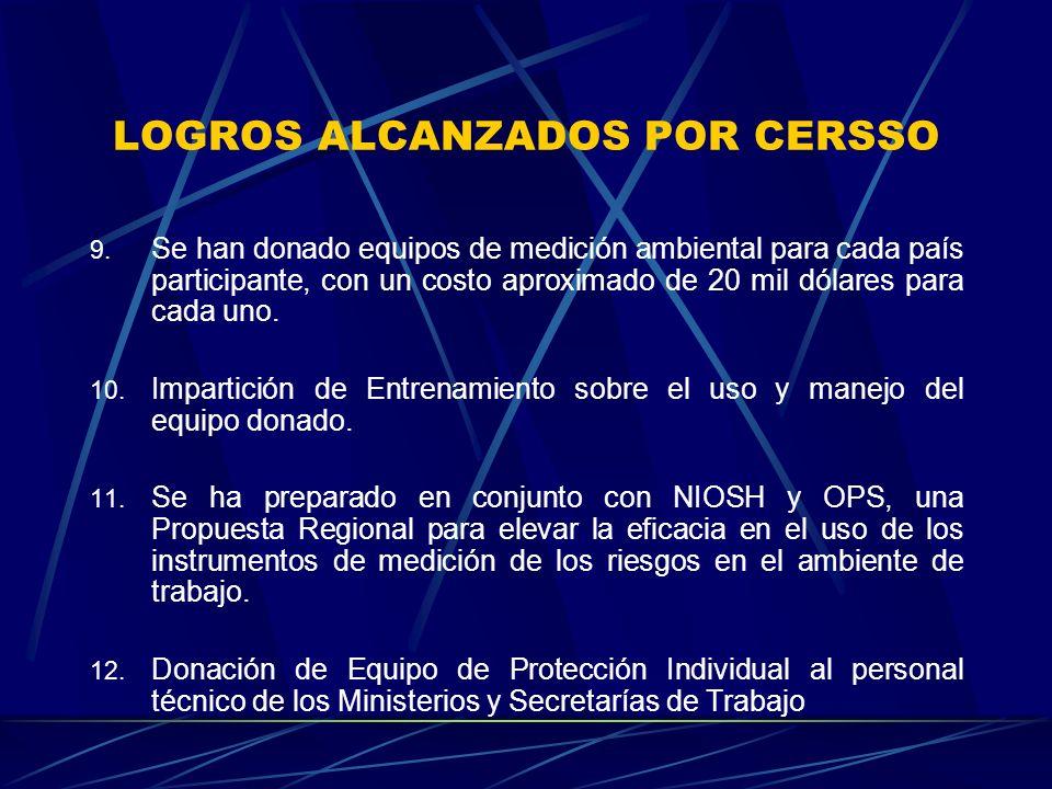 LOGROS ALCANZADOS POR CERSSO 9.