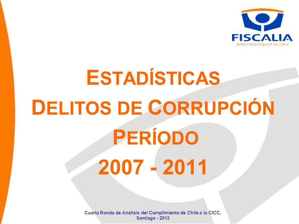 E STADÍSTICAS D ELITOS DE C ORRUPCIÓN P ERÍODO 2007 - 2011 Cuarta Ronda de Análisis del Cumplimiento de Chile a la CICC, Santiago - 2013
