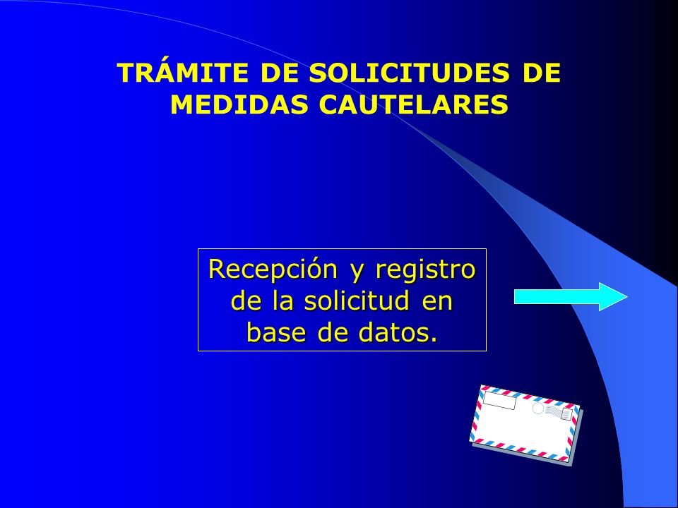 TRÁMITE DE SOLICITUDES DE MEDIDAS CAUTELARES Recepción y registro de la solicitud en base de datos.