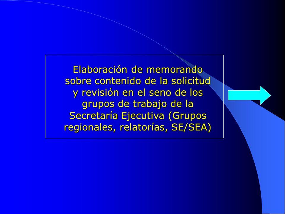 Elaboración de memorando sobre contenido de la solicitud y revisión en el seno de los grupos de trabajo de la Secretaría Ejecutiva (Grupos regionales, relatorías, SE/SEA)
