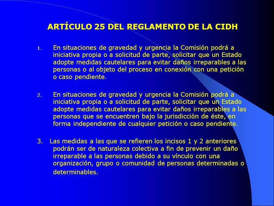 ARTÍCULO 25 DEL REGLAMENTO DE LA CIDH 1.