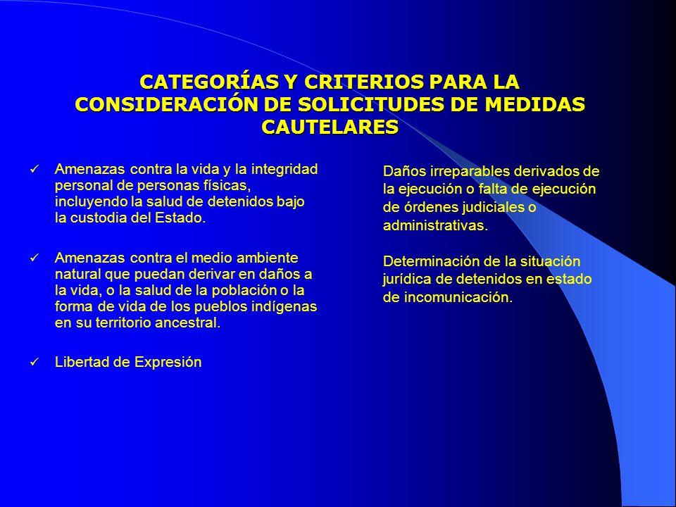CATEGORÍAS Y CRITERIOS PARA LA CONSIDERACIÓN DE SOLICITUDES DE MEDIDAS CAUTELARES Amenazas contra la vida y la integridad personal de personas físicas, incluyendo la salud de detenidos bajo la custodia del Estado.