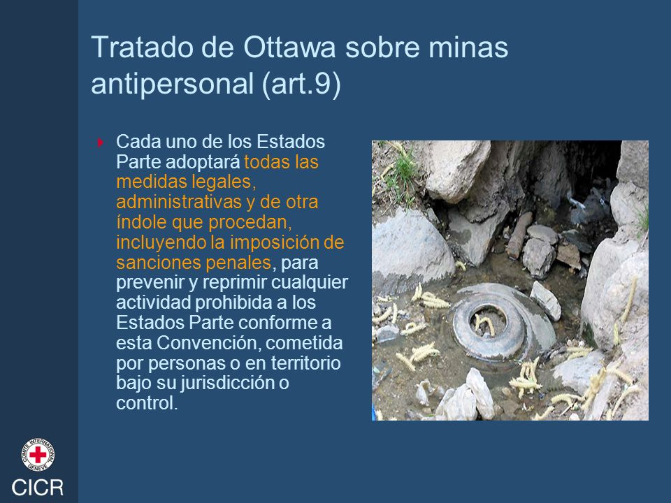 Tratado de Ottawa sobre minas antipersonal (art.9) Cada uno de los Estados Parte adoptará todas las medidas legales, administrativas y de otra índole