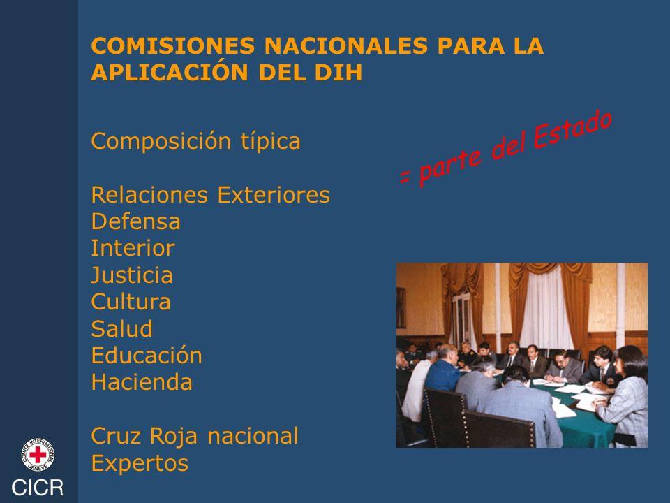 COMISIONES NACIONALES PARA LA APLICACIÓN DEL DIH Composición típica Relaciones Exteriores Defensa Interior Justicia Cultura Salud Educación Hacienda C