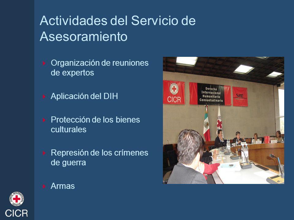 Actividades del Servicio de Asesoramiento Organización de reuniones de expertos Aplicación del DIH Protección de los bienes culturales Represión de lo