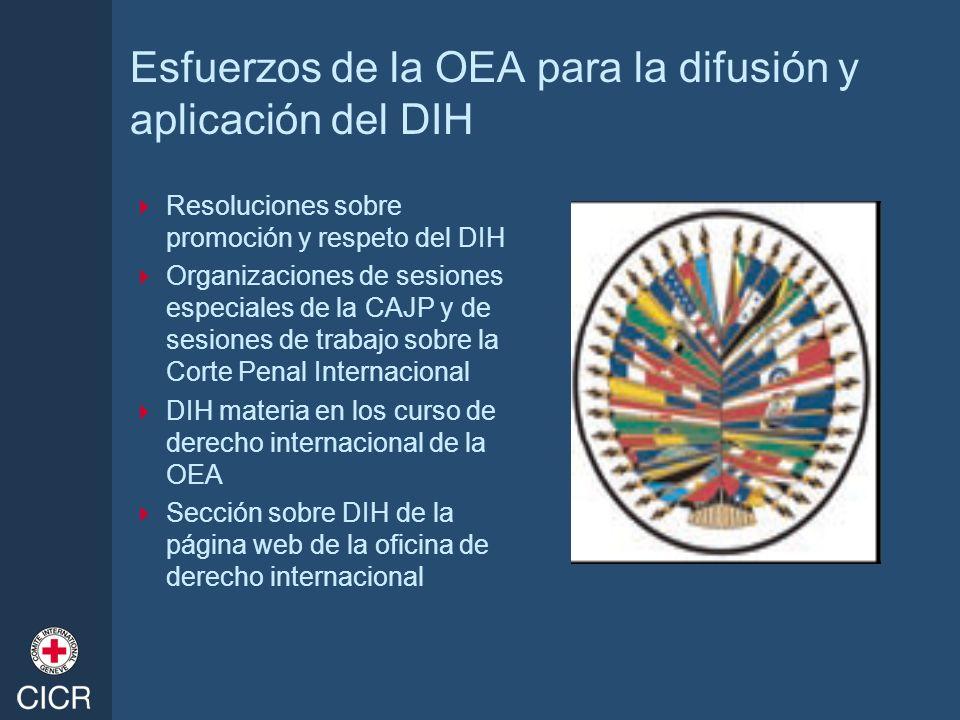 Esfuerzos de la OEA para la difusión y aplicación del DIH Resoluciones sobre promoción y respeto del DIH Organizaciones de sesiones especiales de la C