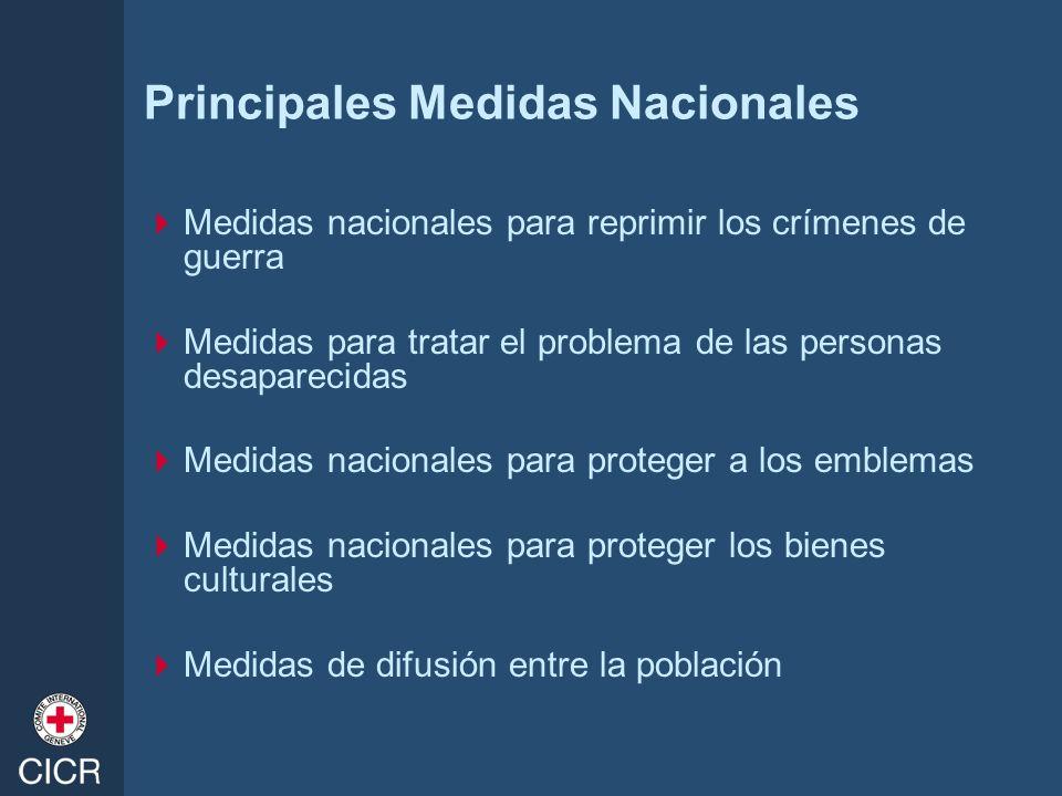 Principales Medidas Nacionales Medidas nacionales para reprimir los crímenes de guerra Medidas para tratar el problema de las personas desaparecidas M