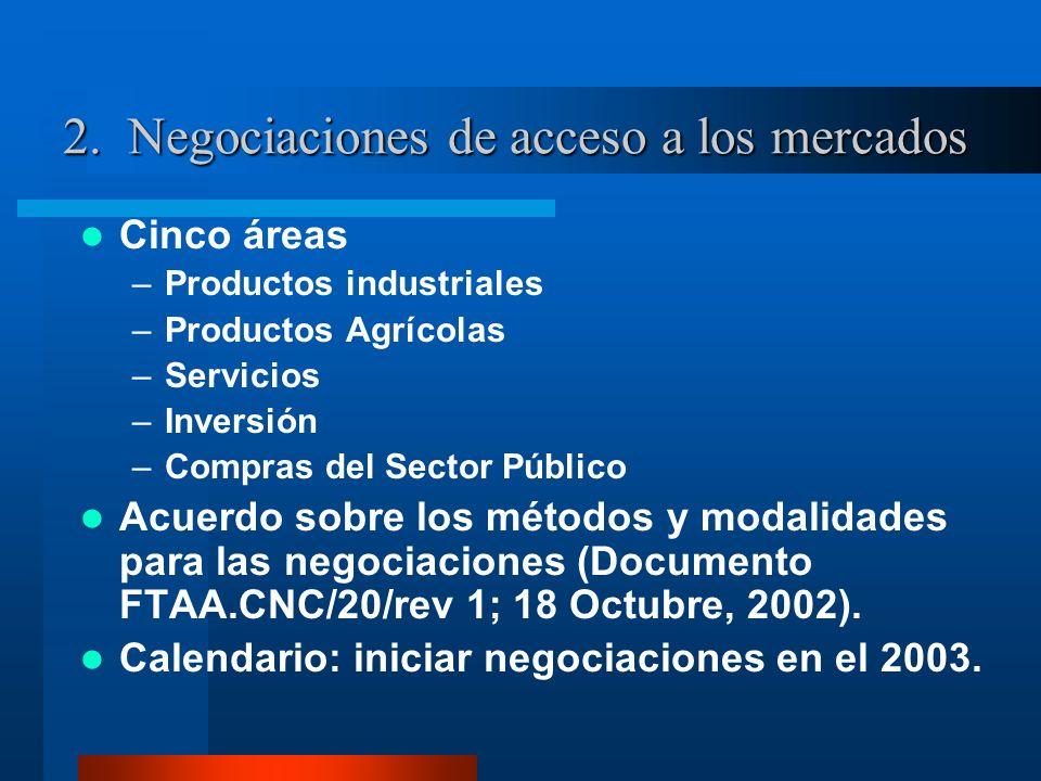 2. Negociaciones de acceso a los mercados Cinco áreas –Productos industriales –Productos Agrícolas –Servicios –Inversión –Compras del Sector Público A