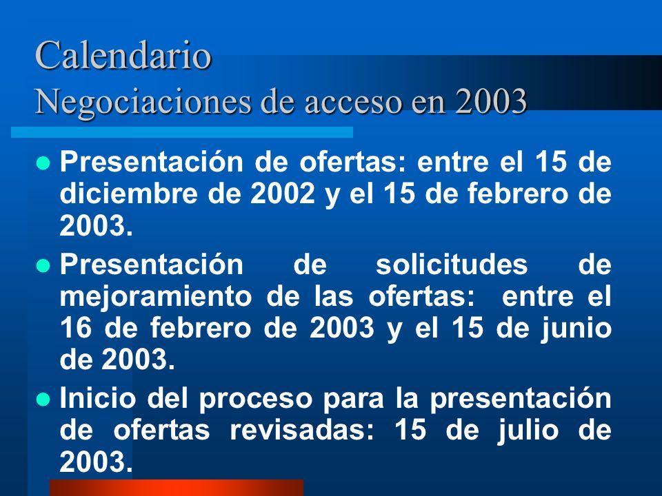 Calendario Negociaciones de acceso en 2003 Presentación de ofertas: entre el 15 de diciembre de 2002 y el 15 de febrero de 2003. Presentación de solic