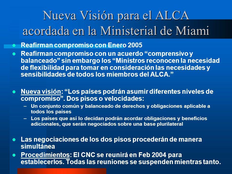 Nueva Visión para el ALCA acordada en la Ministerial de Miami Reafirman compromiso con Enero 2005 Reafirman compromiso con un acuerdo comprensivo y ba