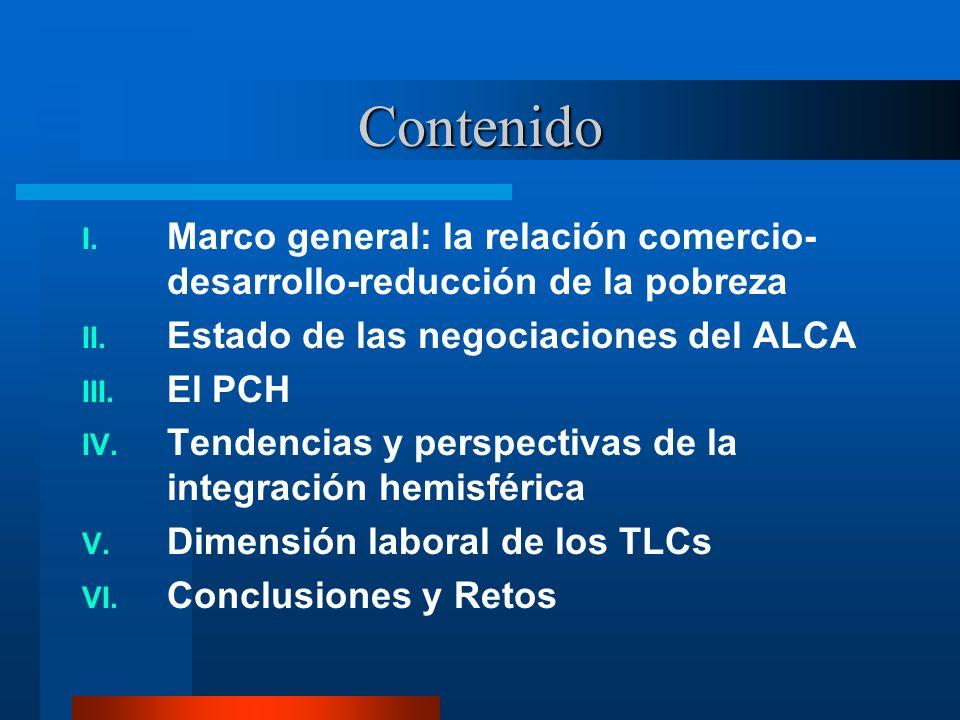 Contenido I. Marco general: la relación comercio- desarrollo-reducción de la pobreza II. Estado de las negociaciones del ALCA III. El PCH IV. Tendenci