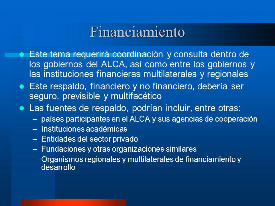 Financiamiento Este tema requerirá coordinación y consulta dentro de los gobiernos del ALCA, así como entre los gobiernos y las instituciones financie
