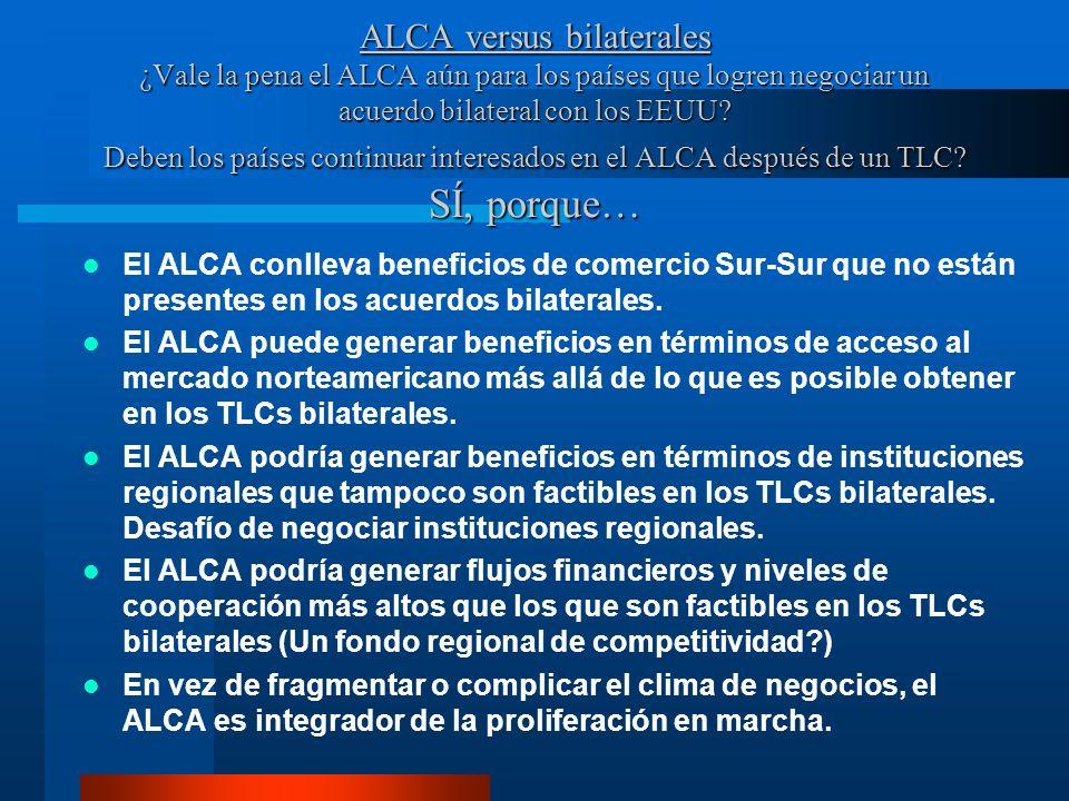 ALCA versus bilaterales ¿Vale la pena el ALCA aún para los países que logren negociar un acuerdo bilateral con los EEUU? Deben los países continuar in
