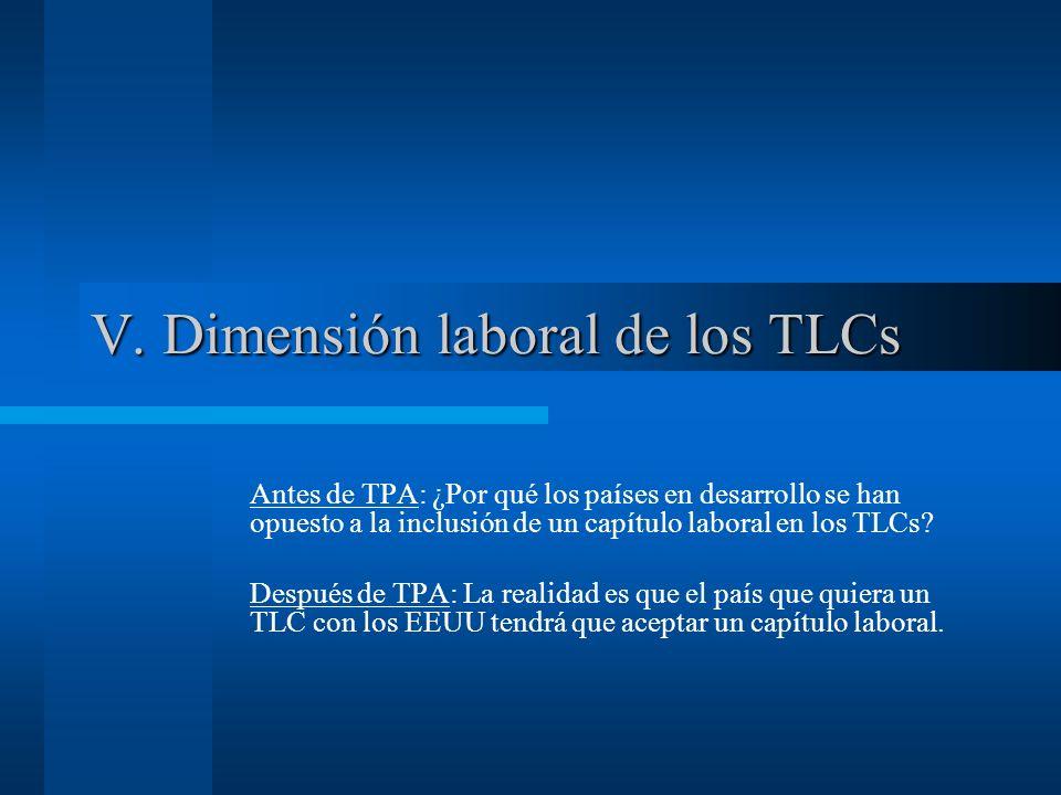 V. Dimensión laboral de los TLCs Antes de TPA: ¿Por qué los países en desarrollo se han opuesto a la inclusión de un capítulo laboral en los TLCs? Des