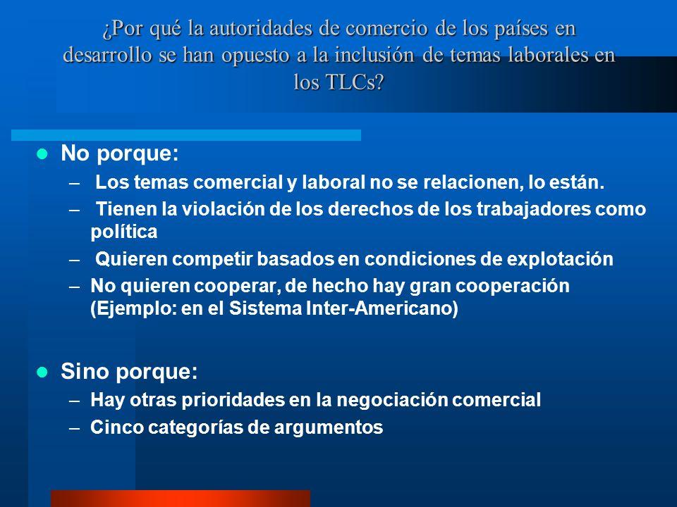 ¿Por qué la autoridades de comercio de los países en desarrollo se han opuesto a la inclusión de temas laborales en los TLCs? No porque: – Los temas c