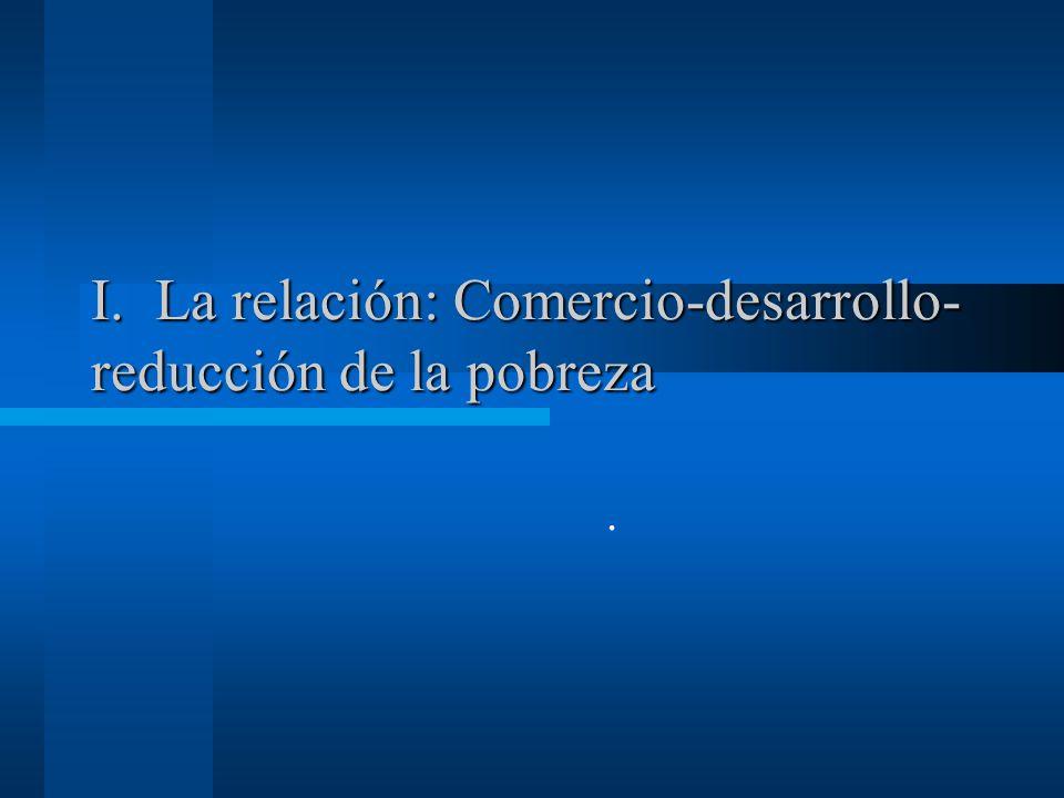 DEBATES COMERCIO-DESARROLLO-POBREZA Cuadro General Gobernabilidad Democrática COMERCIOCRECIMIENTO POBREZA Instituciones que apoyan a los mercados DESIGUALDAD Derechos de Propiedad Instituciones Regulatorias Instituciones para estabilidad macroeconómica Instituciones para seguridad social Instituciones para manejar conflictos Sachs y Warner (1995) Edwards (1998) Frankel y Romer (1999) Rodriguez y Rodrik (2001) Srinivasan y Bhagwati (2001) Cooper (2002) Dollar y Kraay (2000) No hay ejemplos de paises que hayan reducido pobreza sin aumentar significativamente exportaciones, pero muchas diferencias en los modelos de politica comercial seguidos